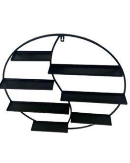 """סטנד תליה עגול שחור מדפים רחבים קוטר 63 ס""""מ"""